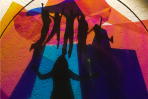 Shekinah and the Circle of Love and Goodness, Together we Heal Our Everyday World, Detail 1, 2020, Radiant Film/Silhouettes/Acrylic Disc, 36inHx24inWx12inD