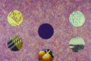 Tree of Life Chronicles/Dot Collage (Purple with Red and Blue Strands), 2004, Collage, 15inHx11inW