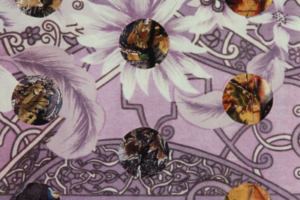Tree of Life Chronicles/Dot Collage (Purple Flower Nouveau over Camoflauge), 2004, Collage, 15inHx11inW