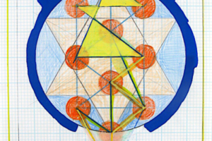 Holy of Holies (Blue with 32 Paths), 2000, Liquid Ink and Acrylic on Graph Paper, 12inHx 9inW