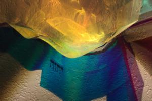 Ner Tamid (Yud Heh Vav Heh), 2018, Detail, Radiant Film/Wire/Letters, 24inHx30inx8inD