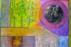 G-d's Desire, The Labor of Love, The Spark Machine and The Burning Bush, 1999, Drawing for Installation (1b), 22inHx30inW