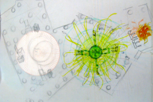 G-d's Desire, The Labor of Love, The Spark Machine and The Burning Bush, 1999, Drawing for Installation (1e), 22inHx30inW