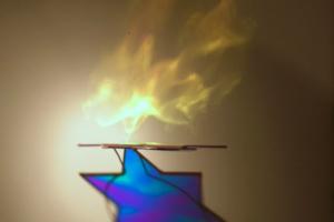 Ner Tamid_Eternal Flame, 2008, Radiant film/Magen David, 36inHx24inWx12inD