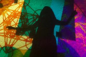 Priestess of the Quantum Realm, Shekinah with Metatron's Cube Enacting Tikkun Olam, 2020, Radiant Film/Silhouettes/Acrylic Disc, Archival digital print, 36inHx24inW