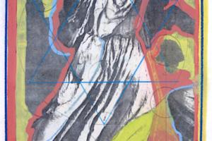 Holy of Holies (Shekinah), 2000, liquid ink on paper with photocopy transfer, 15inHx11inW