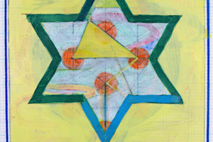 Holy of Holies (Yellow Star with 32 Paths), 72. Holy of Holies (Blue with 32 Paths), 2000, Liquid Ink and Acrylic on Graph Paper, 12inHx 9inW