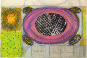 G-d's Desire, The Labor of Love, The Spark Machine and The Burning Bush, 1999, Drawing for Installation (1a), 22inHx30inW