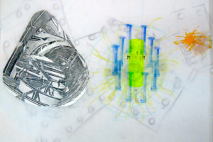 G-d's Desire, The Labor of Love, The Spark Machine and The Burning Bush, 1999, Drawing for Installation (1d), 22inHx30inW